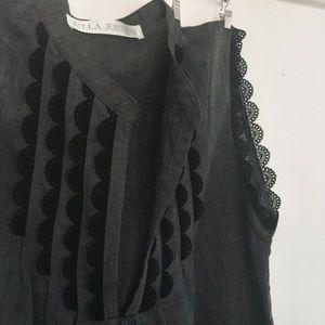 Ulla Johnson Italian Linen & Scallop Lace Top